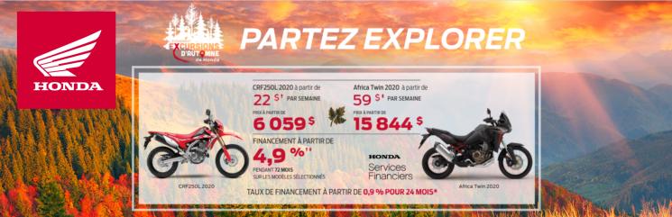 L'ÉVÉNEMENT EXCURSION D'AUTOMNE – PARTEZ EXPLORER – MOTOS HONDA